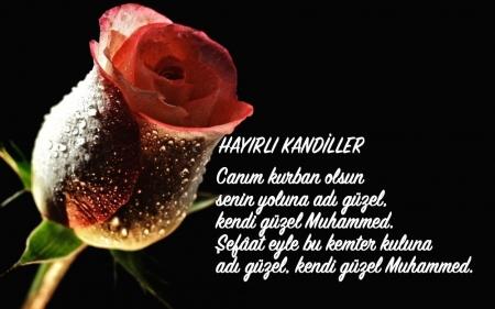 Güllerle Süslenmiş Çok Güzel Resimli Miraç Kandili Mesajları