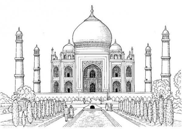 Cami ve Medrese Karakalem islami Resimler