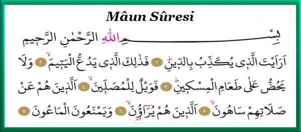 Mâun Sûresi Arapça yazılmış resmi
