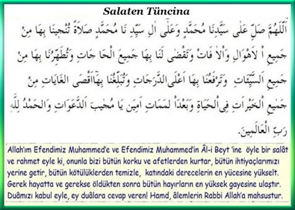 Salaten Tüncina Duasının Arapça Resmi