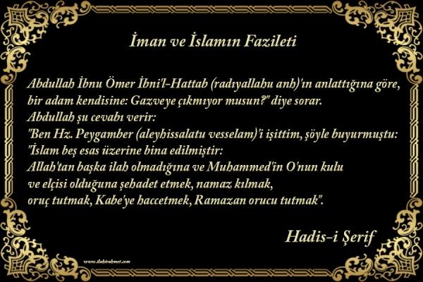 İman ve İslamın Fazileti ile ilgili Resimli Hadisler