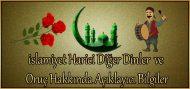 islamiyet Harici Diğer Dinler ve Oruç Hakkında Açıklayıcı Bilgiler