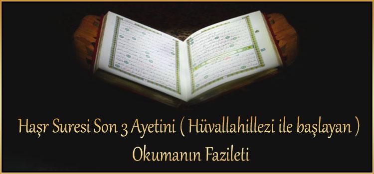 Haşr Suresi Son 3 Ayetini ( Hüvallahillezi ile başlayan ) Okumanın Fazileti