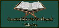 Cumartesi Günü ve Her Gün Okunacak Türkçe Dua