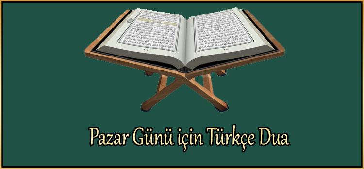 Pazar Günü için Türkçe Dua