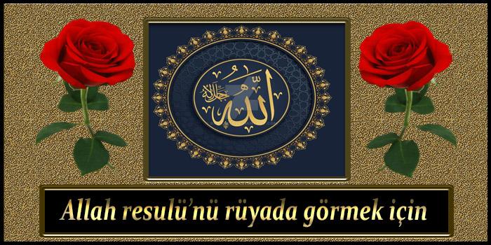 Allah resulü'nü rüyada görmek için